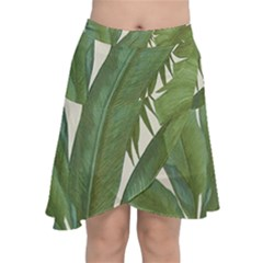 Green Palm Leaf Wallpaper Chiffon Wrap Front Skirt