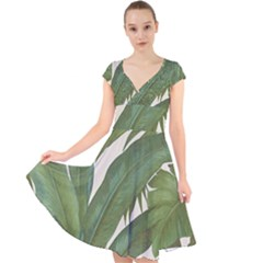 Green Palm Leaf Wallpaper Cap Sleeve Front Wrap Midi Dress