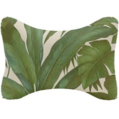 Green Palm Leaf Wallpaper Seat Head Rest Cushion by AnjaniArt