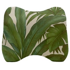 Green Palm Leaf Wallpaper Velour Head Support Cushion by AnjaniArt