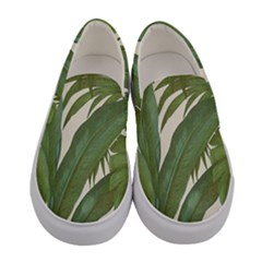 Green Palm Leaf Wallpaper Women s Canvas Slip Ons