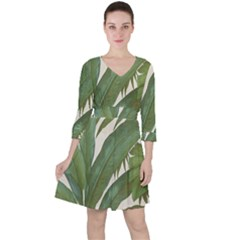 Green Palm Leaf Wallpaper Ruffle Dress