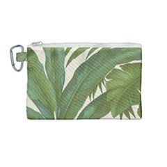 Green Palm Leaf Wallpaper Canvas Cosmetic Bag (medium) by AnjaniArt