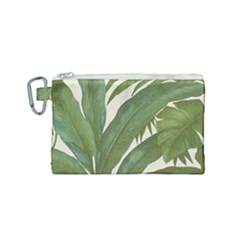 Green Palm Leaf Wallpaper Canvas Cosmetic Bag (small) by AnjaniArt