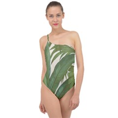 Green Palm Leaf Wallpaper Classic One Shoulder Swimsuit