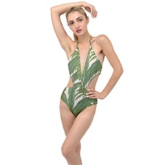 Green Palm Leaf Wallpaper Plunging Cut Out Swimsuit