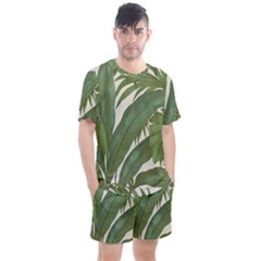 Green Palm Leaf Wallpaper Men s Mesh Tee And Shorts Set by AnjaniArt