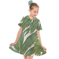 Green Palm Leaf Wallpaper Kids  Short Sleeve Shirt Dress