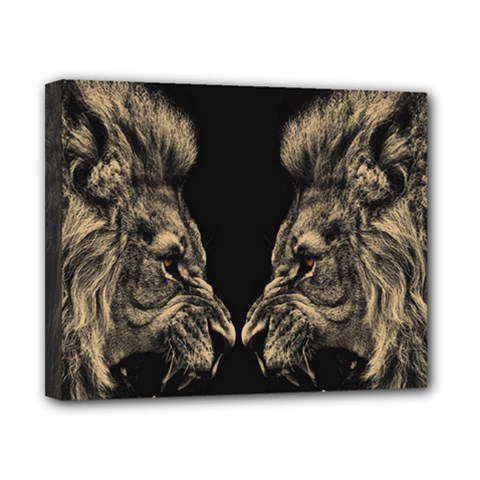 King Abstract Lion Painting Canvas 10  X 8  (stretched)