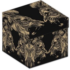 King Abstract Lion Painting Storage Stool 12   by AnjaniArt