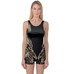 King Abstract Lion Painting One Piece Boyleg Swimsuit by AnjaniArt