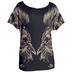 King Abstract Lion Painting Women s Oversized Tee