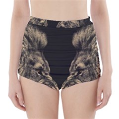 King Abstract Lion Painting High Waisted Bikini Bottoms by AnjaniArt