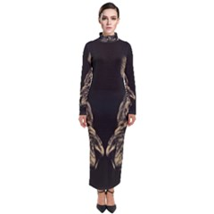 King Abstract Lion Painting Turtleneck Maxi Dress by AnjaniArt