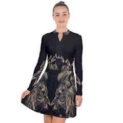King Abstract Lion Painting Long Sleeve Panel Dress by AnjaniArt