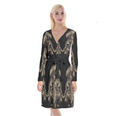 King Abstract Lion Painting Long Sleeve Velvet Front Wrap Dress