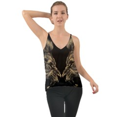 King Abstract Lion Painting Chiffon Cami