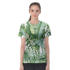 Green Palm Leaf Wallpaper Alfresco Palm Leaf Wallpaper Women s Sport Mesh Tee by AnjaniArt