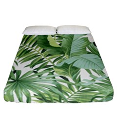 Green Palm Leaf Wallpaper Alfresco Palm Leaf Wallpaper Fitted Sheet (california King Size)