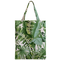 Green Palm Leaf Wallpaper Alfresco Palm Leaf Wallpaper Zipper Classic Tote Bag by AnjaniArt
