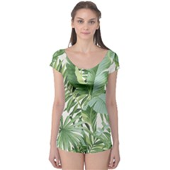 Green Palm Leaf Wallpaper Alfresco Palm Leaf Wallpaper Boyleg Leotard  by AnjaniArt
