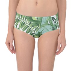 Green Palm Leaf Wallpaper Alfresco Palm Leaf Wallpaper Mid Waist Bikini Bottoms by AnjaniArt