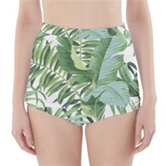 Green Palm Leaf Wallpaper Alfresco Palm Leaf Wallpaper High Waisted Bikini Bottoms by AnjaniArt
