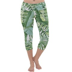 Green Palm Leaf Wallpaper Alfresco Palm Leaf Wallpaper Capri Yoga Leggings by AnjaniArt