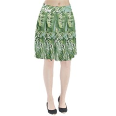 Green Palm Leaf Wallpaper Alfresco Palm Leaf Wallpaper Pleated Skirt by AnjaniArt