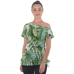 Green Palm Leaf Wallpaper Alfresco Palm Leaf Wallpaper Tie Up Tee by AnjaniArt