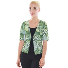 Green Palm Leaf Wallpaper Alfresco Palm Leaf Wallpaper Cropped Button Cardigan