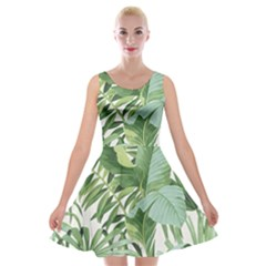 Green Palm Leaf Wallpaper Alfresco Palm Leaf Wallpaper Velvet Skater Dress