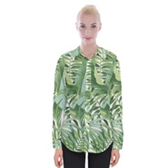 Green Palm Leaf Wallpaper Alfresco Palm Leaf Wallpaper Womens Long Sleeve Shirt by AnjaniArt