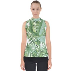 Green Palm Leaf Wallpaper Alfresco Palm Leaf Wallpaper Mock Neck Shell Top by AnjaniArt