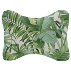 Green Palm Leaf Wallpaper Alfresco Palm Leaf Wallpaper Velour Seat Head Rest Cushion by AnjaniArt