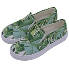 Green Palm Leaf Wallpaper Alfresco Palm Leaf Wallpaper Kids  Canvas Slip Ons by AnjaniArt