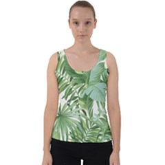 Green Palm Leaf Wallpaper Alfresco Palm Leaf Wallpaper Velvet Tank Top by AnjaniArt