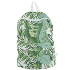 Green Palm Leaf Wallpaper Alfresco Palm Leaf Wallpaper Foldable Lightweight Backpack by AnjaniArt