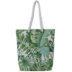 Green Palm Leaf Wallpaper Alfresco Palm Leaf Wallpaper Full Print Rope Handle Tote (small)