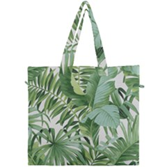Green Palm Leaf Wallpaper Alfresco Palm Leaf Wallpaper Canvas Travel Bag by AnjaniArt