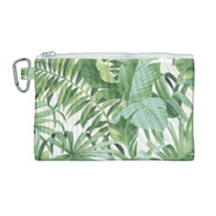 Green Palm Leaf Wallpaper Alfresco Palm Leaf Wallpaper Canvas Cosmetic Bag (large) by AnjaniArt
