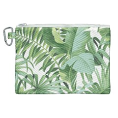Green Palm Leaf Wallpaper Alfresco Palm Leaf Wallpaper Canvas Cosmetic Bag (xl) by AnjaniArt