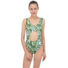 Green Palm Leaf Wallpaper Alfresco Palm Leaf Wallpaper Center Cut Out Swimsuit by AnjaniArt