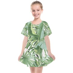 Green Palm Leaf Wallpaper Alfresco Palm Leaf Wallpaper Kids  Smock Dress