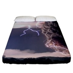Lighting Flash Fire Wallpapers Fitted Sheet (king Size) by AnjaniArt