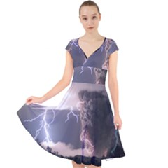 Lighting Flash Fire Wallpapers Cap Sleeve Front Wrap Midi Dress
