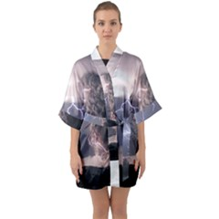 Lighting Flash Fire Wallpapers Quarter Sleeve Kimono Robe by AnjaniArt