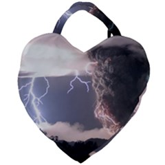 Lighting Flash Fire Wallpapers Giant Heart Shaped Tote by AnjaniArt