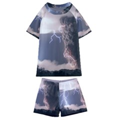 Lighting Flash Fire Wallpapers Kids  Swim Tee And Shorts Set