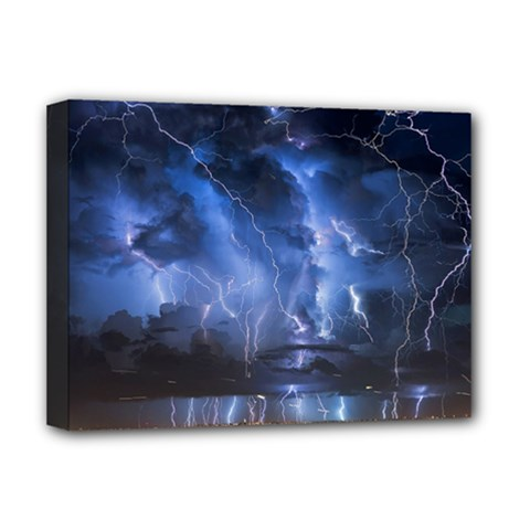 Lighting Flash Fire Wallpapers Night City Town Meteor Deluxe Canvas 16  X 12  (stretched)